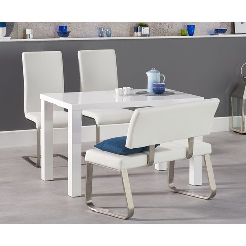 Atlanta 120cm White High Gloss Dining Table With Mal...