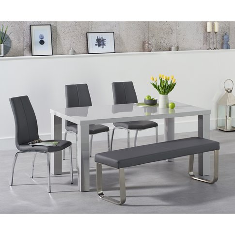 Atlanta 160cm Light Grey High Gloss Dining Table Wit...
