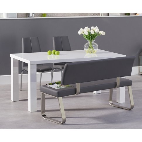 Atlanta 160cm White High Gloss Dining Table With Cav...