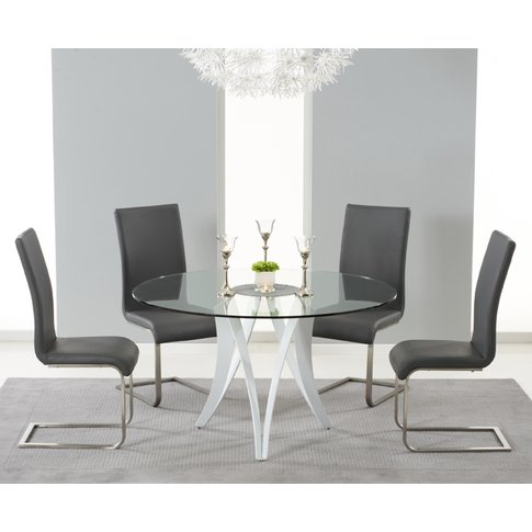 Berlin 130cm Glass And White High Gloss Round Dining Table With Malaga Chairs - Ivory, 4 Chairs