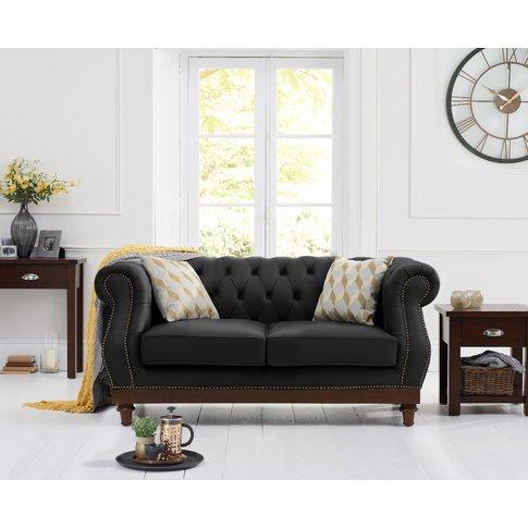 Henbury Chesterfield Black Leather 2 Seater Sofa