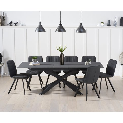 Boston 180cm Grey Stone Extending Dining Table With ...