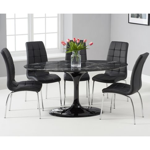 Brighton 160cm Oval Black Marble Dining Table With C...