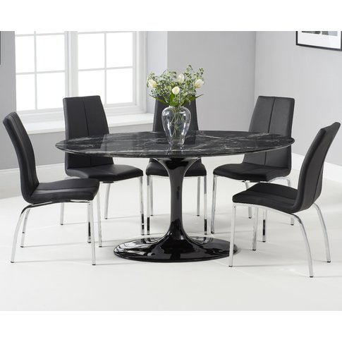 Brighton 160cm Oval Black Marble Dining Table With Cavello Dining Chairs - Cream, 4 Chairs