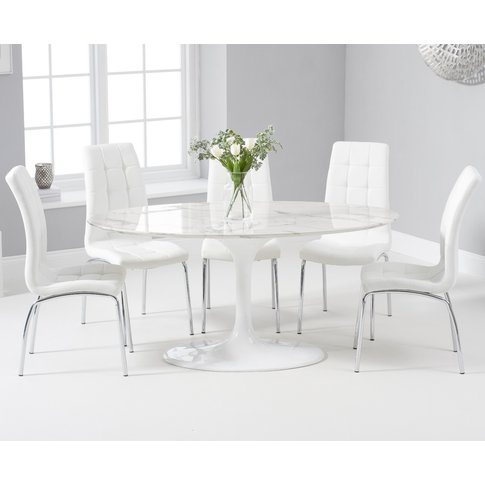 Brighton 160cm Oval White Marble Dining Table With C...