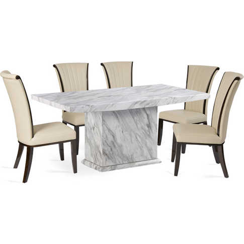 Calacatta 180cm Marble-Effect Dining Table With Alpi...
