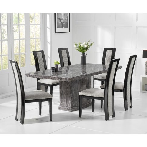 Carvelle 160cm Dark Grey Pedestal Marble Dining Table With Raphael Chairs