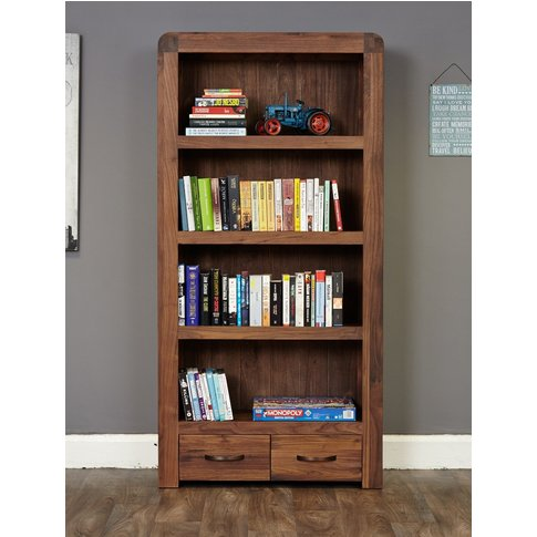Nishio Solid Walnut 2 Drawer Bookcase