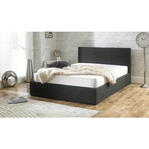 Sterling Fabric Charcoal Fabric Ottoman Double Bed