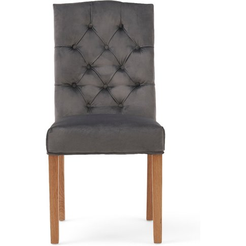 Claudia Grey Velvet Dining Chairs - Grey, 2 Chairs