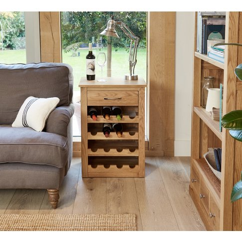 Rhone Solid Oak Wine Rack Side Table