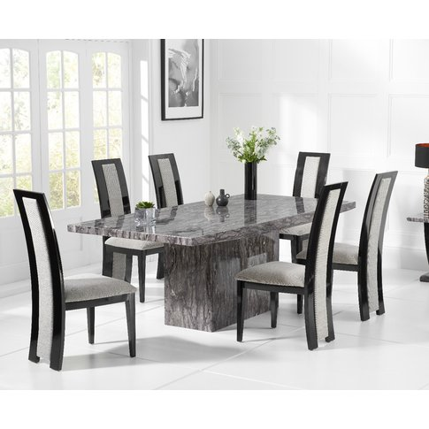 Crema 160cm Grey Marble Dining Table With Raphael Ch...