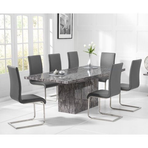 Crema 220cm Grey Marble Dining Table With Malaga Cha...