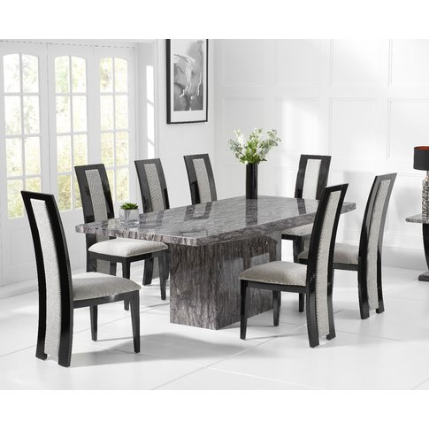 Crema 220cm Grey Marble Dining Table With Raphael Ch...