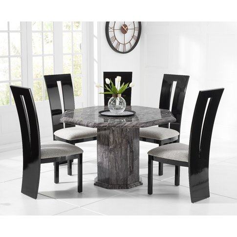 Crema Grey Octagonal Marble Dining Table With Verbie...