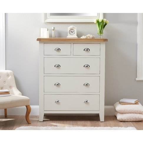 Eden Oak And White Large 2 Over 3 Chest Of Drawers