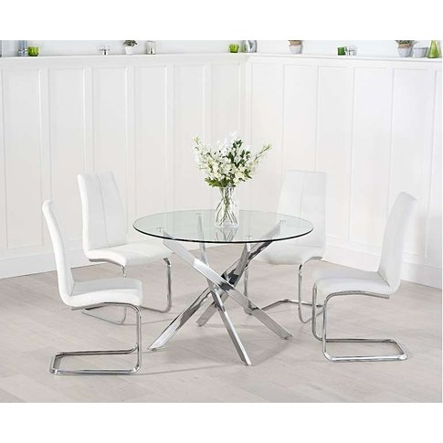 Ex-Display Denver 120cm Glass Dining Table With 4 Re...