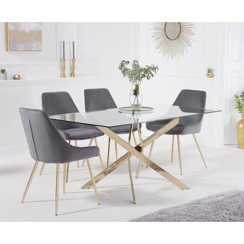 Denver 160cm Rectangular Gold Leg Glass Dining Table...