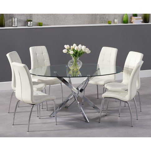 Denver 165cm Oval Glass Dining Table with Calgary Ch...
