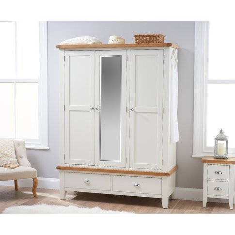Eden Oak And White Three Door Wardrobe