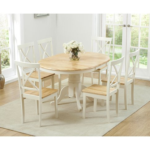 Epsom Cream Pedestal Extending Dining Table With Chairs - Cream, 4 Chairs