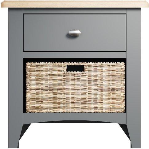 Arlia Oak And Grey 1 Drawer 1 Basket Storage Unit