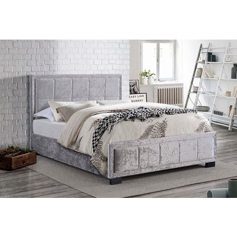 Illinois Steel Crushed Velvet Fabric Small Double Bed