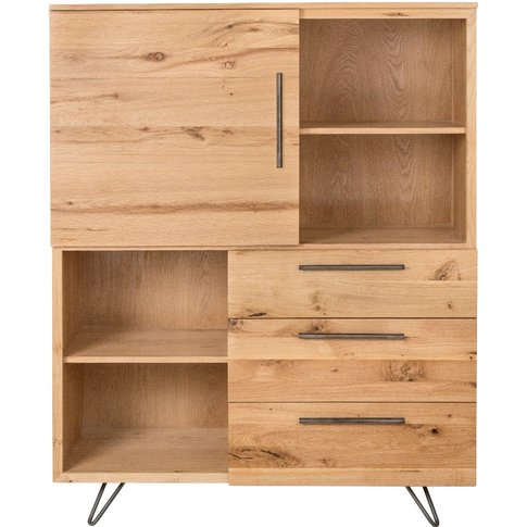 Miles Large Oak And Metal Bookcase