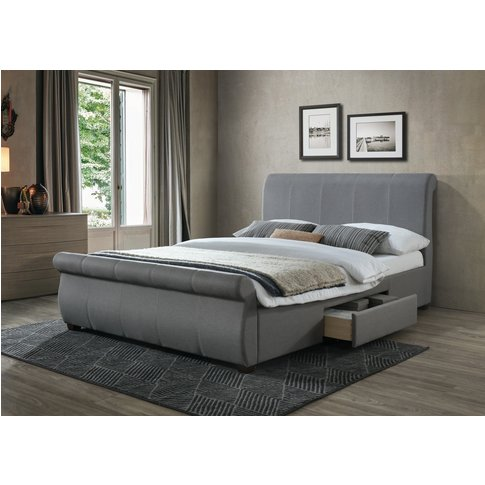 Guam Grey Fabric King Size Bed