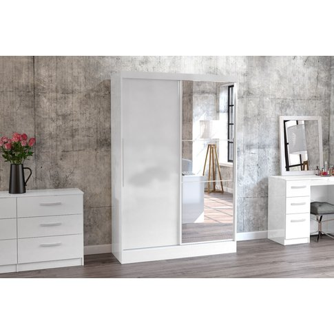 Adalee White 2 Door Sliding Wardrobe With Mirror