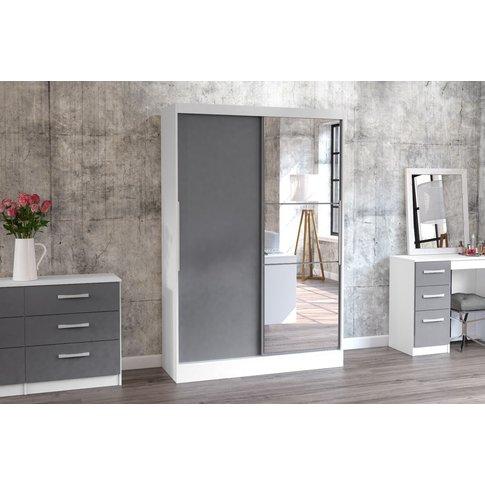 Adalee White & Grey 2 Door Sliding Wardrobe With Mirror
