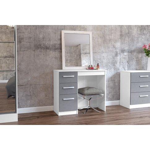 Adalee White & Grey 3 Drawer Dressing Table