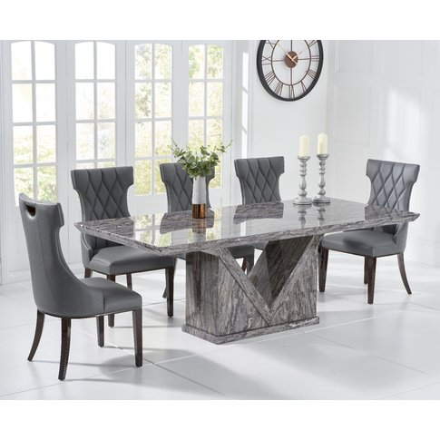 Mocha 180cm Grey Marble Dining Table With Freya Chairs