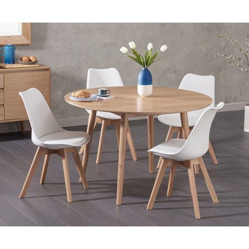 Nordic 120cm Round Oak Dining Table With Duke Faux L...