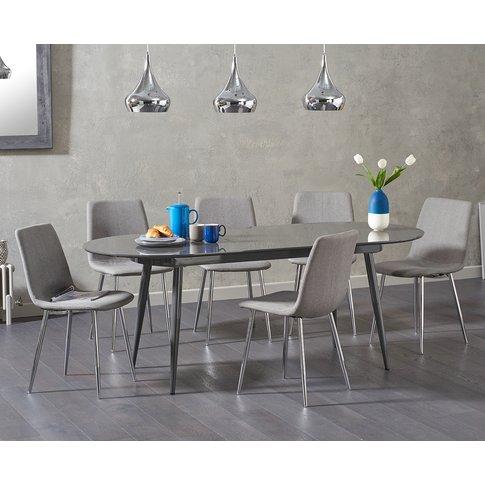 Olivia Extending Dark Grey High Gloss Dining Table W...