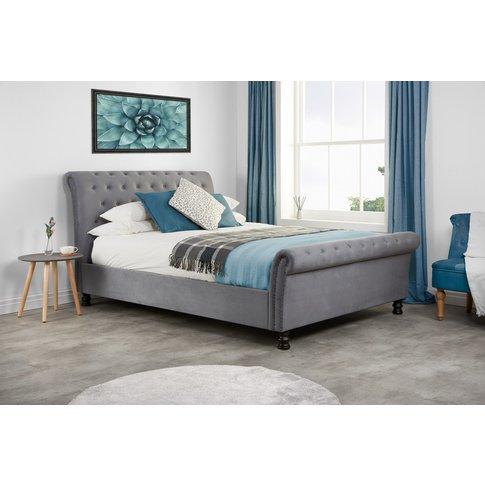 Missouri Double Grey Velvet Bed