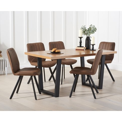 Orangon 160cm Dining Table With Dexter Faux Leather Chairs
