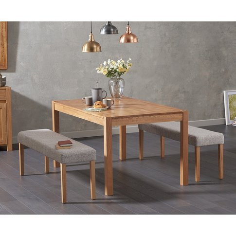 Oxford 150cm Solid Oak Dining Table With Mia Grey Be...