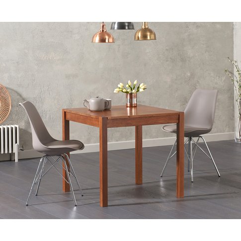 Oxford 80cm Solid Dark Oak Dining Table With Celine ...