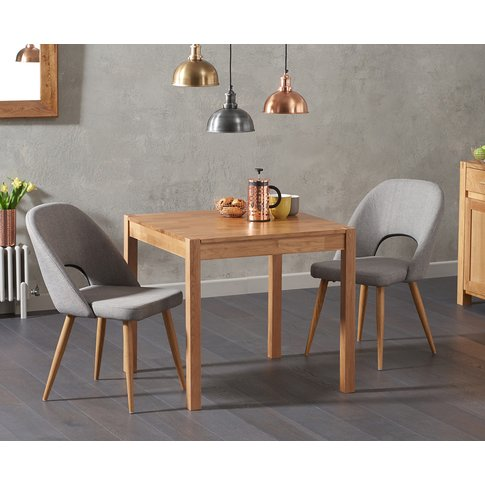 Oxford 80cm Solid Oak Dining Table with Halifax Fabr...
