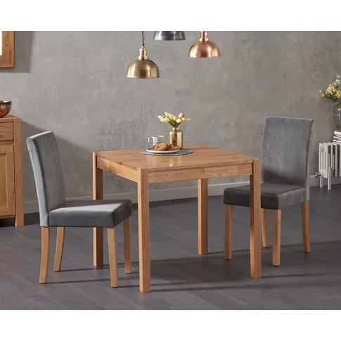 Oxford 80cm Solid Oak Dining Table With Mia Plush Fa...