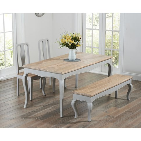 Parisian 175cm Grey Shabby Chic Dining Table with Ch...