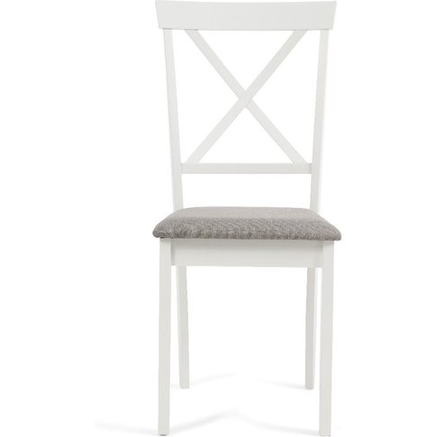 Epsom White Dining Chairs With Fabric Seats - Oak An...