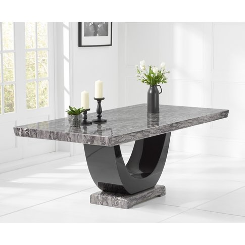 Raphael 170cm Dark Grey Pedestal Marble Dining Table