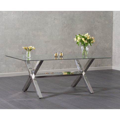Renzo 200cm Glass Dining Table