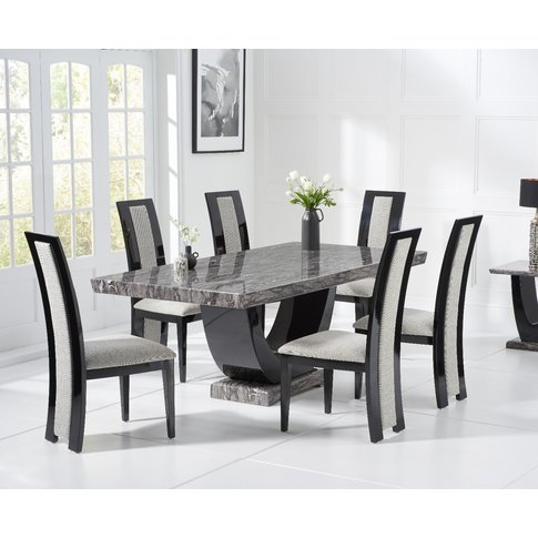 Raphael 170cm Dark Grey Pedestal Marble Dining Table...
