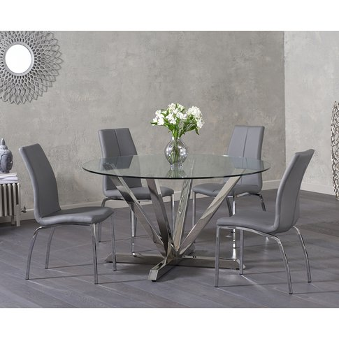 794c7e3080893 Reno Round Glass Dining Table with Cavello Chairs - .