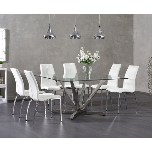 Ex-Display Reno Square Glass Dining Table With 4 Gre...
