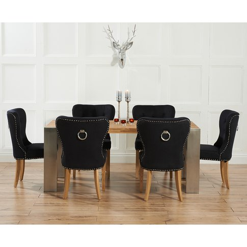 Soho 180cm Oak And Metal Extending Dining Table With Knightsbridge Fabric Chairs