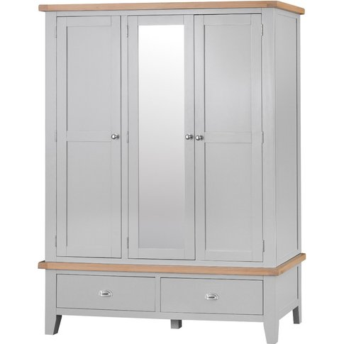Willow Oak And Grey 3 Door Wardrobe